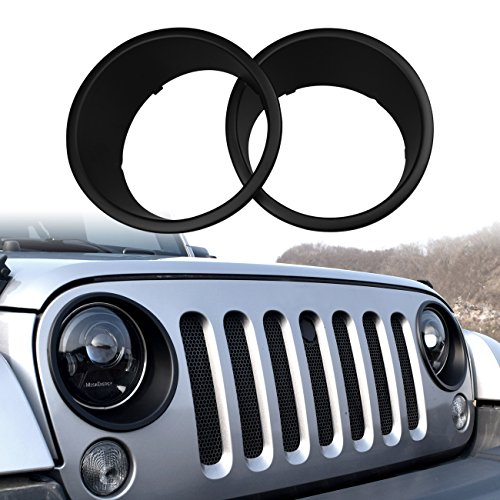 DIYTUNINGS Black Bezels Front Light Headlight Trim Cover for Jeep Wrangler JK JKU Unlimited Rubicon Sahara Sport Exterior Accessories Parts 2007 2008 2009 2010 2011 2012 2013 2014 2015 2016 2017