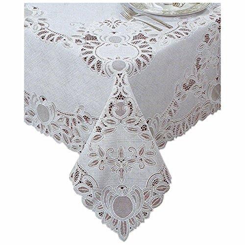 "Battenberg Crochet Vinyl Lace Tablecloth, White - 60"" x 90"" Oblong"