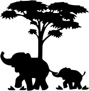 "Bargain Max Decals Mom and Baby Elephant Sticker Decal Notebook Car Laptop 5"" (Black)"