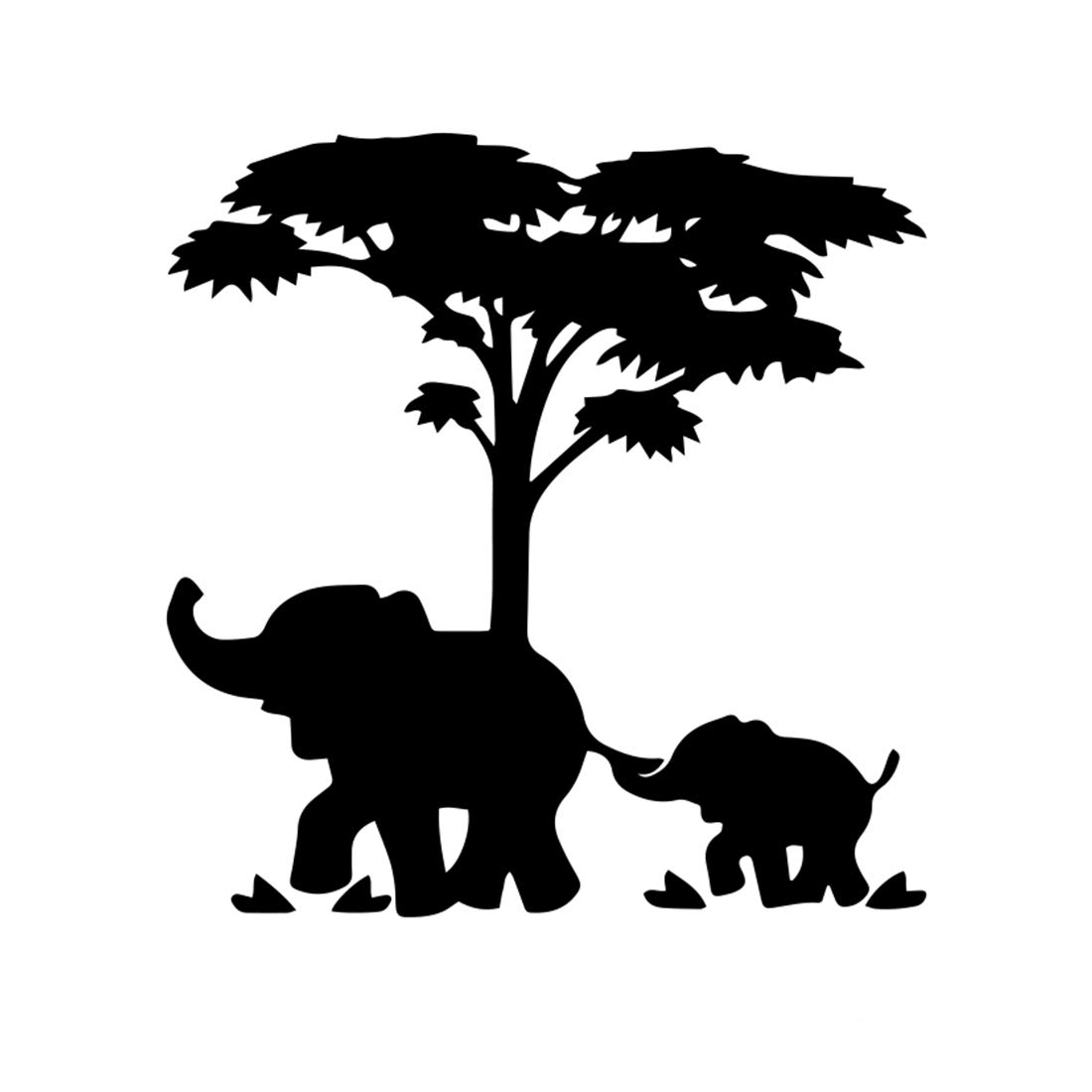 Elephant Mother and Baby Silhouette Sticker Decal Graphic Vinyl Label Black