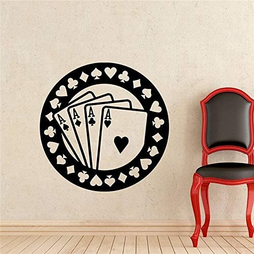 wopiaol Poker Wall Decal Aces Casino Play Room Vinilo Adhesivo Holdem Cards Juego Gaming Nursery Wall Art Extraíble Impermeable