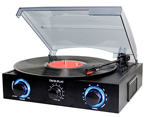 (TechPlay TCP2 BK, 3 Speed (33, 45, 78 RPM)turntable with pitch control, FM Radio, RCA Out Jacks, Headphone Jack, and Built-in stereo speakers. LED lights)