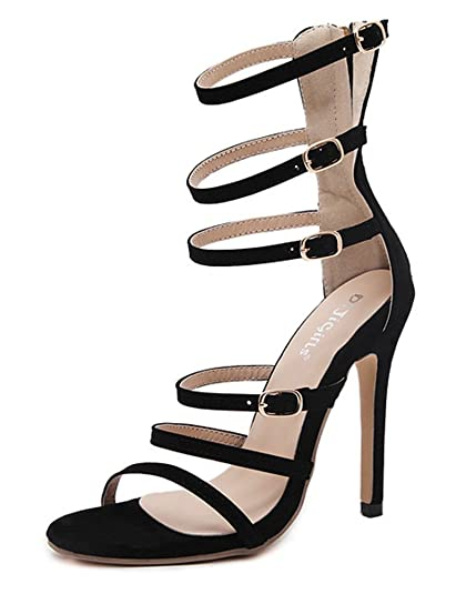 1877e674a69 Easemax Women s Chic Sexy High Stiletto Heel Buckle Straps Open Toe Strappy  Cutout Zip Up Long