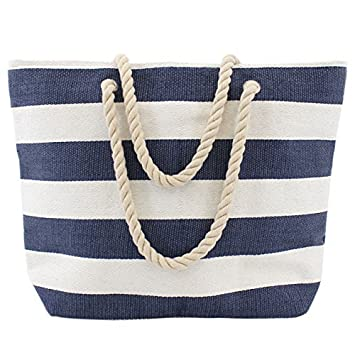 Extra large nautical tote beach bag blue: Amazon.co.uk: Luggage