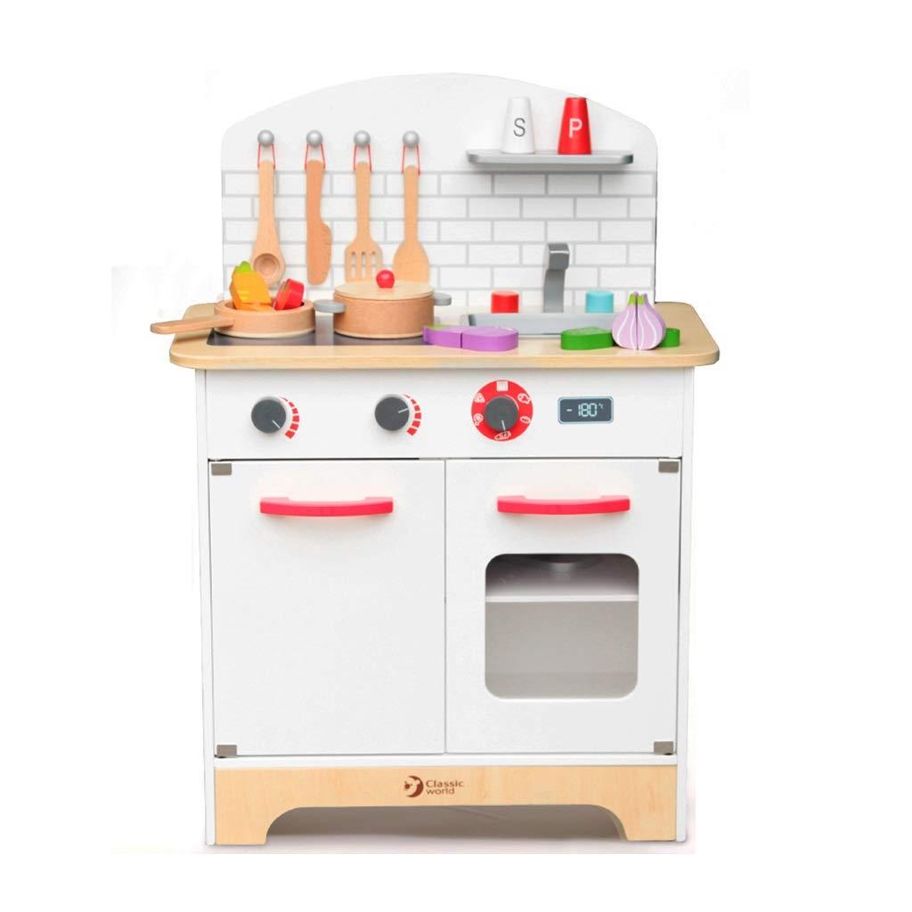 調理器具食器 木製キッチンプレイセット キッズキッチン玩具 28アクセサリー 3-6歳 ロールプレイング 誕生日プレゼント (Color : 白, Size : 55*31*76cm) 55*31*76cm 白 B07SHRC9F2