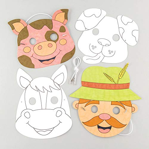 Baker Ross Farm Animal Colour in Mask Kits (Pack of 4) Assorted Farm Animal Masks for Kids to Decorate and Wear to Party's or Dressing Up -