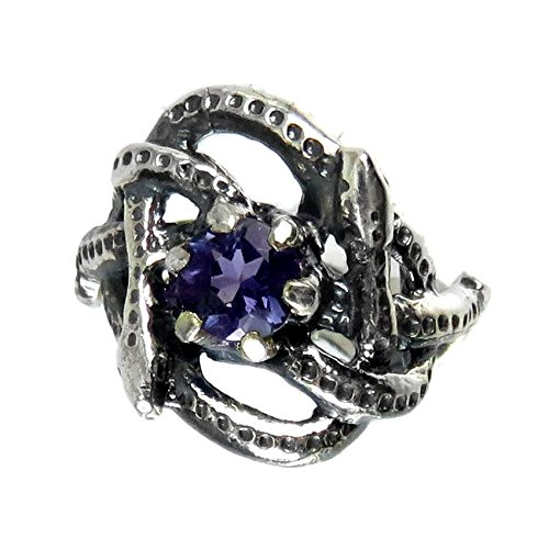 (Celtic Knotted Two Snakes Silver Ring with Iolite)