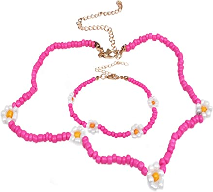 Boho Flower Daisy Coloful Seed Beads Necklace Choker Clavicle Chain Lady Jewelry
