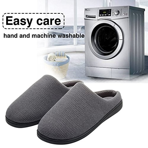 Cozy Spa House Indoor Slippers for Men Warm Lining Clog Slippers Dark Gray L by Harrms (Image #6)