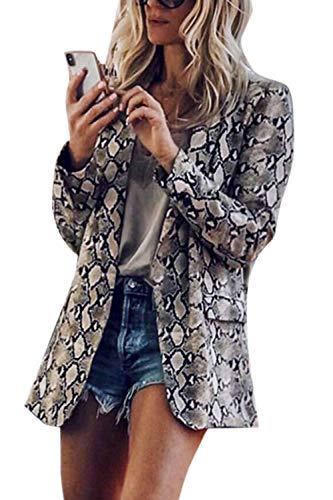 Cool Printed da Giacca manica Slim lunga Animal Coat Snake Skin donna Pattern Coat OpxOI6q