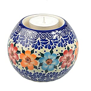BCV Classic Boleslawiec, Polish Pottery Hand Painted Ceramic Ball, Tea Lite Candle Holder, Collection (U-004, 9cm)