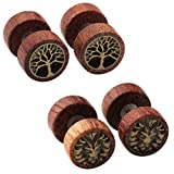 3 4 wooden plugs - Zysta 2-4 Pairs Wooden Stud Earring Vintage Stainless Steel Fake Ear Gauge 10MM Earrings Ear Plugs Lion Piercings Hypoallergenic Screw