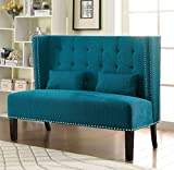 Furniture of America Alexa Modern Upholstered Love Seat, Teal