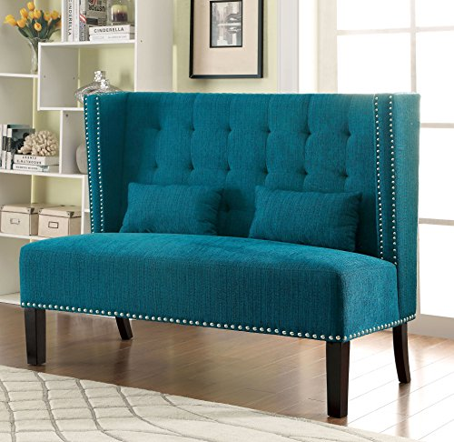 Furniture of America Alexa Modern Upholstered Love Seat, Teal, 54 x 17.75 x 26.25