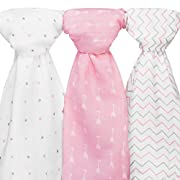 Ziggy Baby Muslin Swaddle Blankets, 48x48, Arrow, Cross, Pink/White, 3 Pack