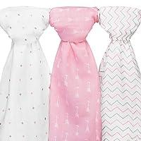 Ziggy Baby Muslin Swaddle Blankets, 48x48, Arrow, Cross, Pink/White, 3 Pack