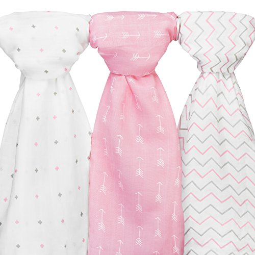 Ziggy Baby Muslin Swaddle Blankets, 48x48, Arrow, Cross, Pink/White, 3 (Pink Cheveron)