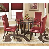 Ashley Charrell 5 Piece Glass Round Dining Set in Red