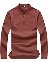 Men's Banded Collar Long Sleeve Solid Color Flax Shirt