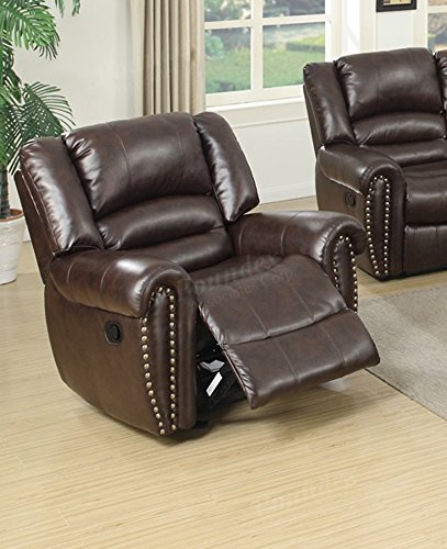 Poundex F6755 Velenje Motion Sofa Set in Brown Bonded Leather (XL Rocking Recliner Chair)