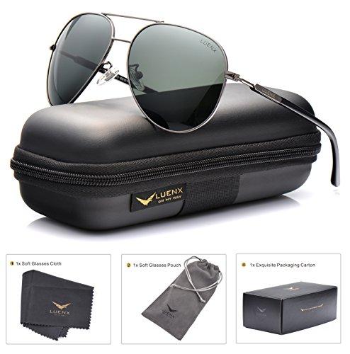 Mens Womens Sunglasses Aviator Polarized Driving Dark Green by LUENX - UV 400 Protection Plastic Lens Gun Metal Frame 60mm