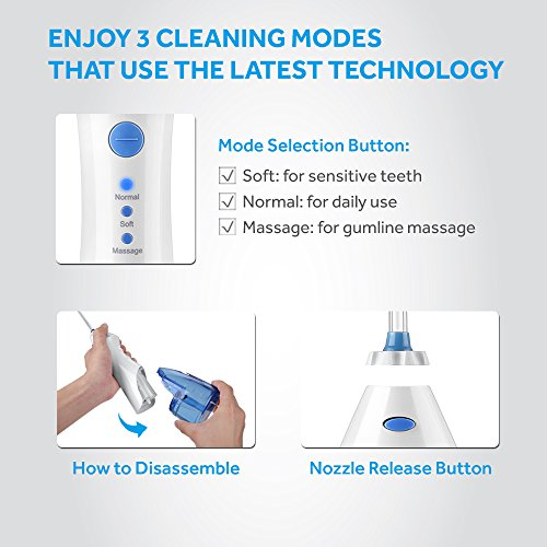 Lavany Water Flosser Cordless Oral Irrigator Professional Rechargeable Portable Dental Water Jet With 4 Jet Tips For Braces and Teeth Whitening,Travel and Home Use by Lavany (Image #3)