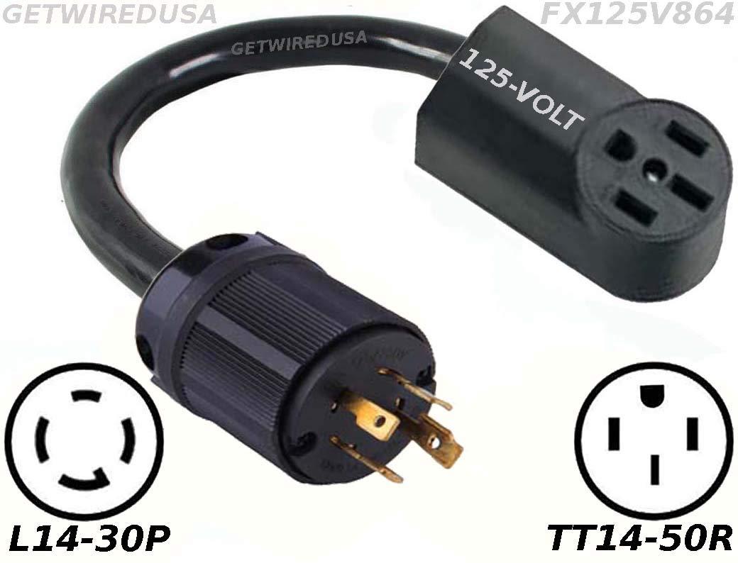 Power Converter, L14-30P Twist Lock Generator 220/250V Male Plug To TT14-50R 110/125V RV Travel Trailer Camper Motor Home Female Socket Receptacle Outlet Cable Electric Cord Adapter FX125V864