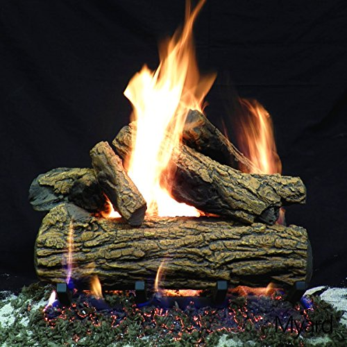 Myard DELUXE 18'' inches Country Oak Fire Gas Logs (LOGS ONLY) for Natural Gas / Liquid Propane Vented Fireplace by PayandPack