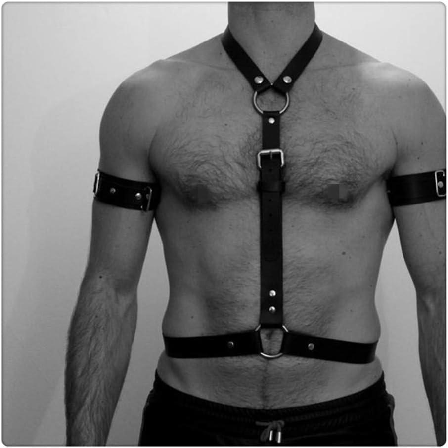 Z-one 1 Cintur¨®n de cintura ajustable de cuero sint¨¦tico para hombre con hebillas para brazalete Accesorios de vestuario romanos (talla ¨²nica, negro)