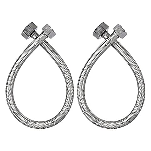 HOMEIDEAS 16-Inch Faucet Connector Braided Stainless Steel Supply Hose 3/8