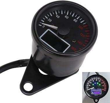 Black Universal Motorcycle Digital Gauge Speedometer Tachometer Odometer Oil Level Meter LCD Display Instrument Cluster 12V