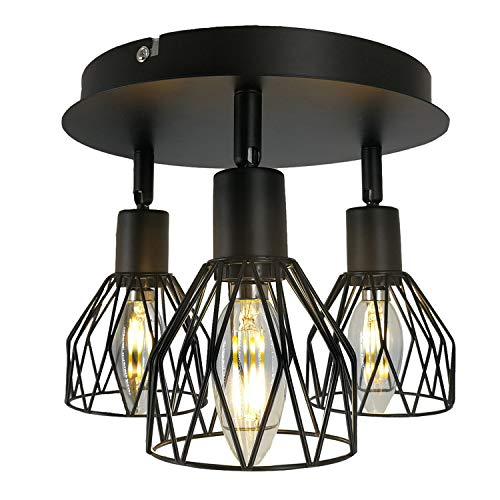 Ganeed Semi-Flush Mount Ceiling Light,3-Lights Industrial Multi Directional Ceiling Light Fixtures,Iron Cage Ceiling Lamp Pendant Lighting for Farmhouse Island Dining Room Hallway Bedroom