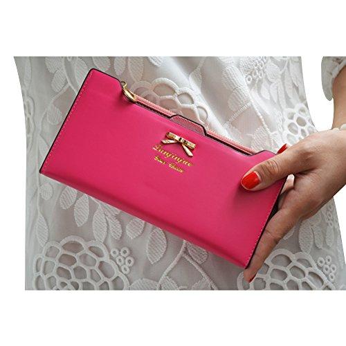 Bourse à Cuir Mignon Femme Simili CHIC Sac Nœud Vintage Main Longue CHIC Noir Wallet Portefeuille Papillon Rose wqRFU0