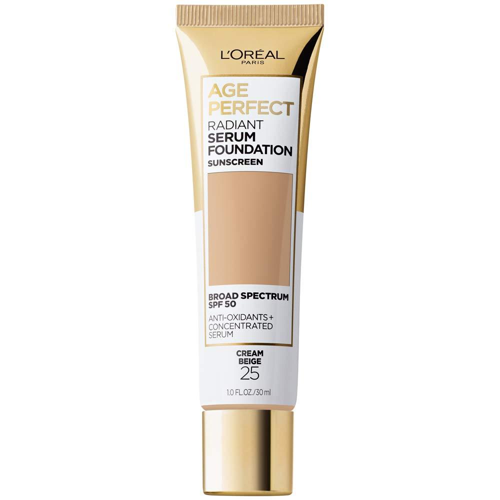 L'Oreal Paris Radiant serum foundation with spf 50, vitamin b3, and hydrating serum by age perfect cosmetics, Cream Beige, 1 Fl Oz