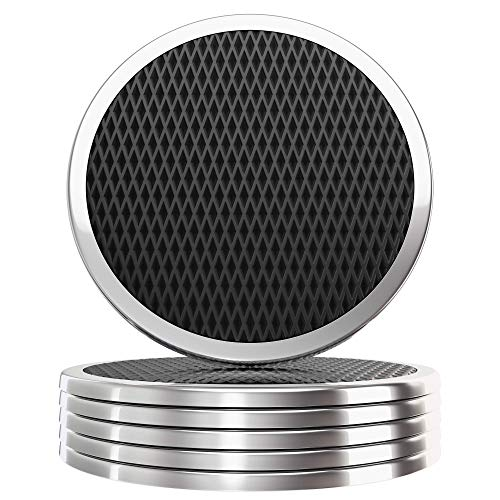 YouShop Luxury Coasters for Drinks (6) - Premium Metal, Black Leather, Velvet Base | Contemporary and Clean Style, Modern Coaster Set for Living Room, Kitchen, or Office Coasters | Protect Furniture
