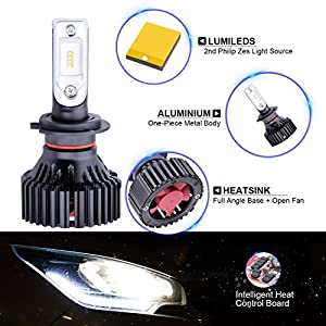 G+ 9007 HB5 High Low beam Dual Beam headlamp 8000 Lumens With Extremely Bright Phi ZES AEC Chips All-in-One LED Headlight Conversion Kit Halogen Head light Replacement 6500K White,1 Yr Warranty