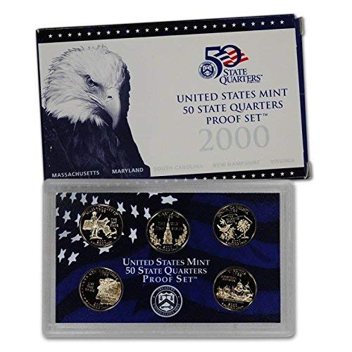 1999 2000 State Quarter - 2000 S U.S. Mint Proof State Quarter Set - 5 Coins - OGP Original Government Packaging Superb Gem Uncirculated