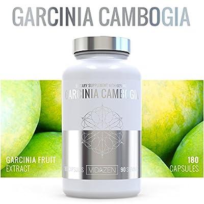 Premium Grade 100% Natural Pure Garcinia Cambogia with 60% HCA - Natural Appetite Suppressant - Safe Fat Burner, Carb Blocker & Weight Loss Aid Diet Pills- Calcium, Chromium, & Potassium Supplement