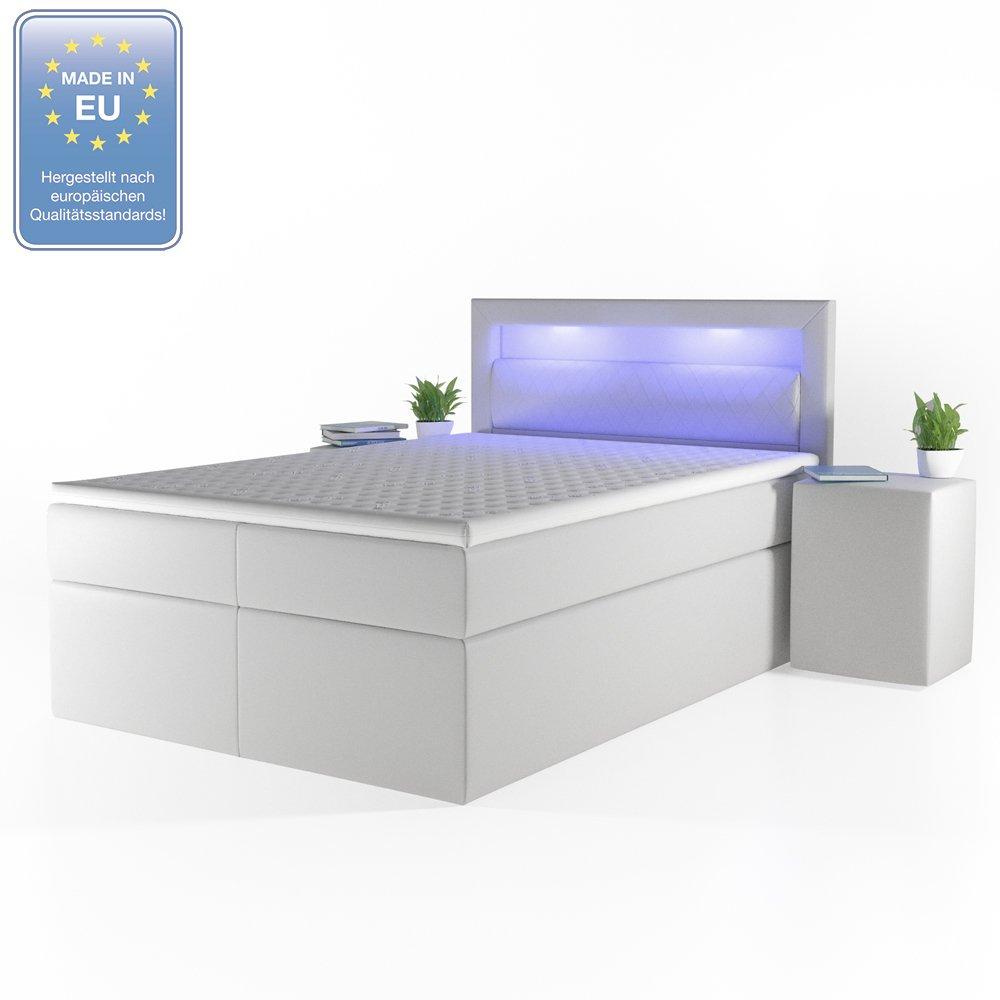 OSKAR Cama de diseño con somier LED, Cama Doble Hotel EHE Cama 140 x 200 cm Color Blanco: Amazon.es: Hogar