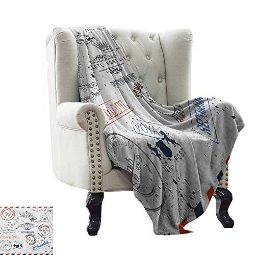 "BelleAckerman pet Blanket Vintage,Retro Post Stamps Postage Mail Paris Antique Artistic Design Vocation Traveling, Multicolor Sofa Super Soft, Plush, Fuzzy Microfiber Throw Reversible,Comfy 60""x70"""