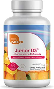 Zahler Junior D3 Chewable 1000IU, Great Tasting Chewable Vitamin D for Kids, Vitamin D3 1000 IU for Children, Certified Kosher, 250 Chewable Tablets