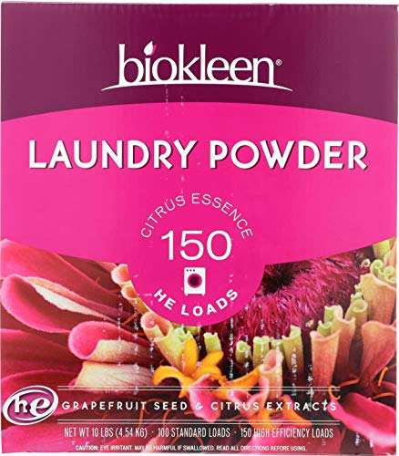 - Biokleen Laundry Detergent Powder, Concentrated, Eco-Friendly, Non-Toxic, Plant-Based, No Artificial Fragrance, Colors or Preservatives, Citrus Essence, 10 Pounds - 150 HE Loads/100 Standard Loads