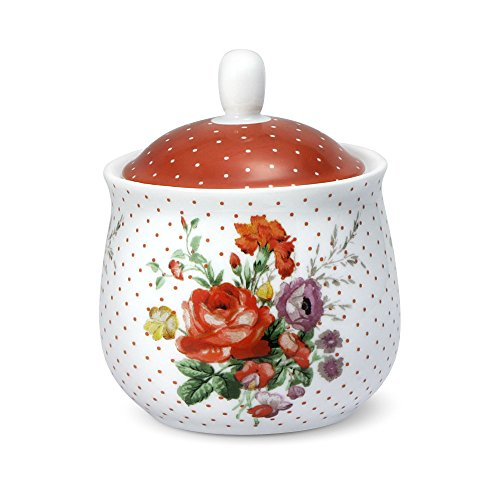 Lifetime Brands Condiment Set (Katie Alice Scarlet Posey Sugar Bowl with Lid, 8-Ounce)