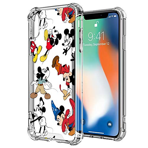 DISNEY COLLECTION iPhone X/Xs [5.8 inch] Case Clear Design Disney Mickey Group with 4 Corners Shock Skid Proof Scratch-Resistant PC+TPU Protection Cover