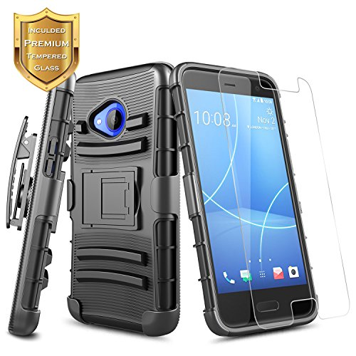 HTC U11 Life Case (T-Mobile) with [Tempered Glass Screen Protector], NageBee [Heavy Duty] Armor Shock Proof [Belt Clip Holster Kickstand] Combo Rugged Case For HTC U11 Life 5.2-inch (Black)
