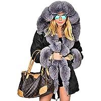 Roiii Women's Winter Thicken Faux Fur Hooded Plus Size Parka Jacket Coat Size S-3XL