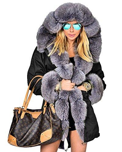 Roiii Women Thicken Warm Winter Coat Hood Parka Overcoat Long Jacket Outwear (M, Black - Full Overcoat Length Womens