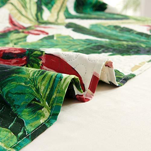 Tropical Rainforest Summer Quilt Set King Size Green Leaf Bedding Set Lightweight Reversible Botanical Flower Bedspread Coverlet with Sham Soft Breathable Bed Set, 1 Quilt and 2 Pillowshams