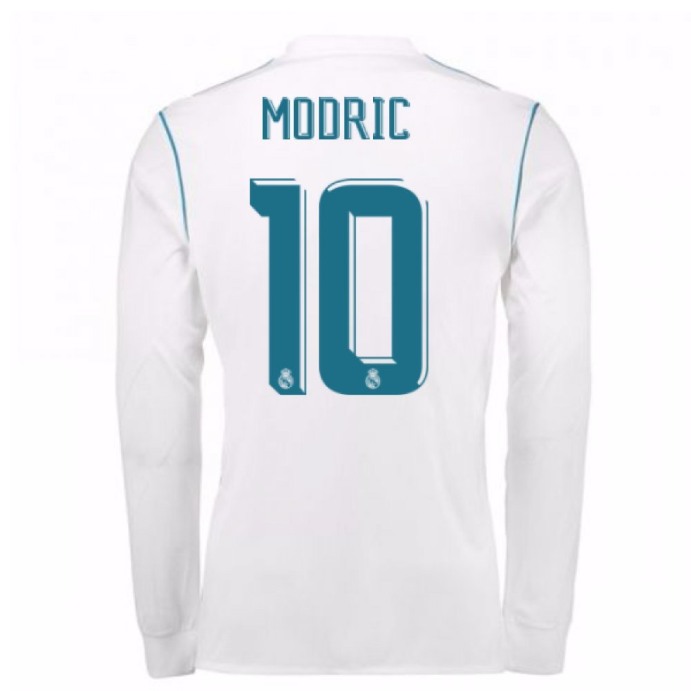 2017-18 Real Madrid Long Sleeve Home Football Soccer T-Shirt Trikot (Luka Modric 10)