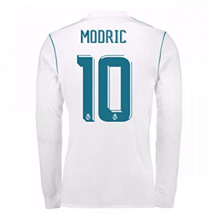 764bac3c541 Image Unavailable. Image not available for. Color  2017-18 Real Madrid Long  Sleeve Home Football Soccer T-Shirt ...
